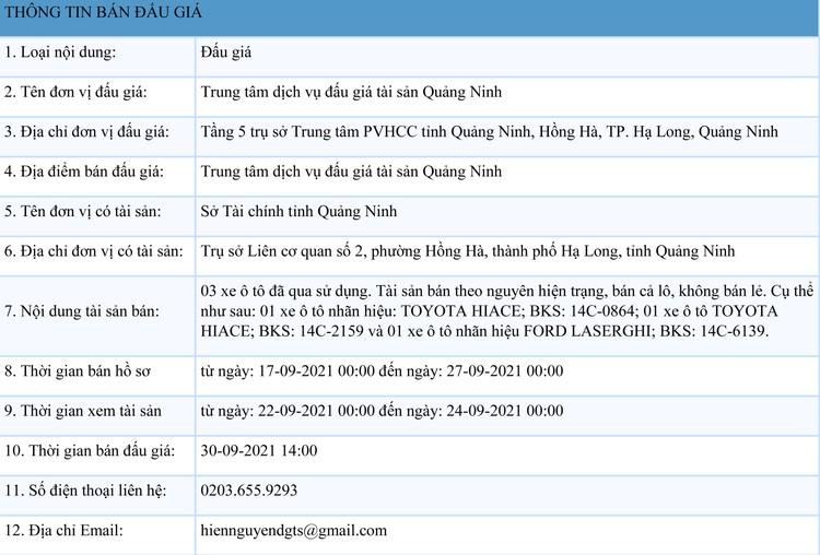 Ngày 30/9/2021, đấu giá 3 xe ô tô đã qua sử dụng tại tỉnh Quảng Ninh ảnh 1