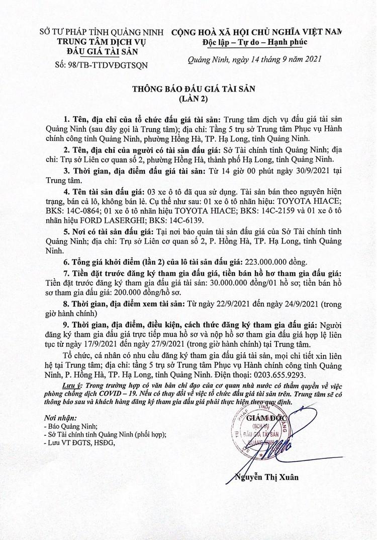 Ngày 30/9/2021, đấu giá 3 xe ô tô đã qua sử dụng tại tỉnh Quảng Ninh ảnh 2