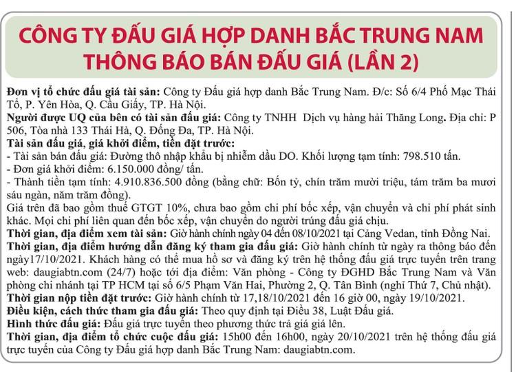 Ngày 20/10/2021, đấu giá đường thô nhập khẩu bị nhiễm dầu DO tại Hà Nội ảnh 1