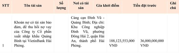 Ngày 8/10/2021, đấu giá khoản nợ của Công ty CP Xuất nhập khẩu Quảng Bình tại Vietibank Hải Phòng ảnh 1