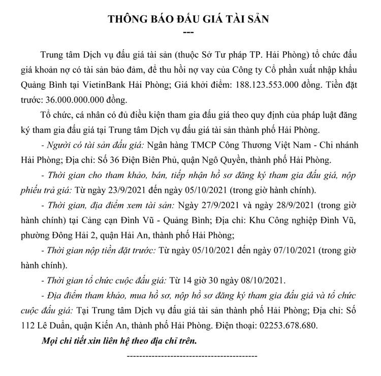 Ngày 8/10/2021, đấu giá khoản nợ của Công ty CP Xuất nhập khẩu Quảng Bình tại Vietibank Hải Phòng ảnh 2