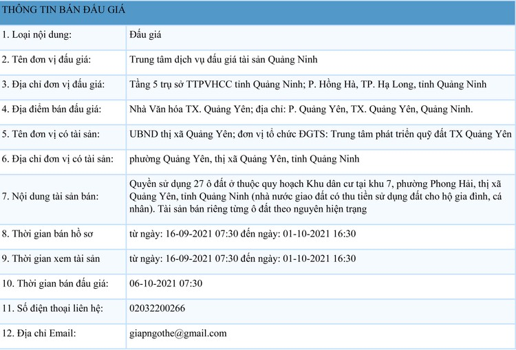 Ngày 6/10/2021, đấu giá quyền sử dụng 27 ô đất tại thị xã Quảng Yên, tỉnh Quảng Ninh ảnh 1