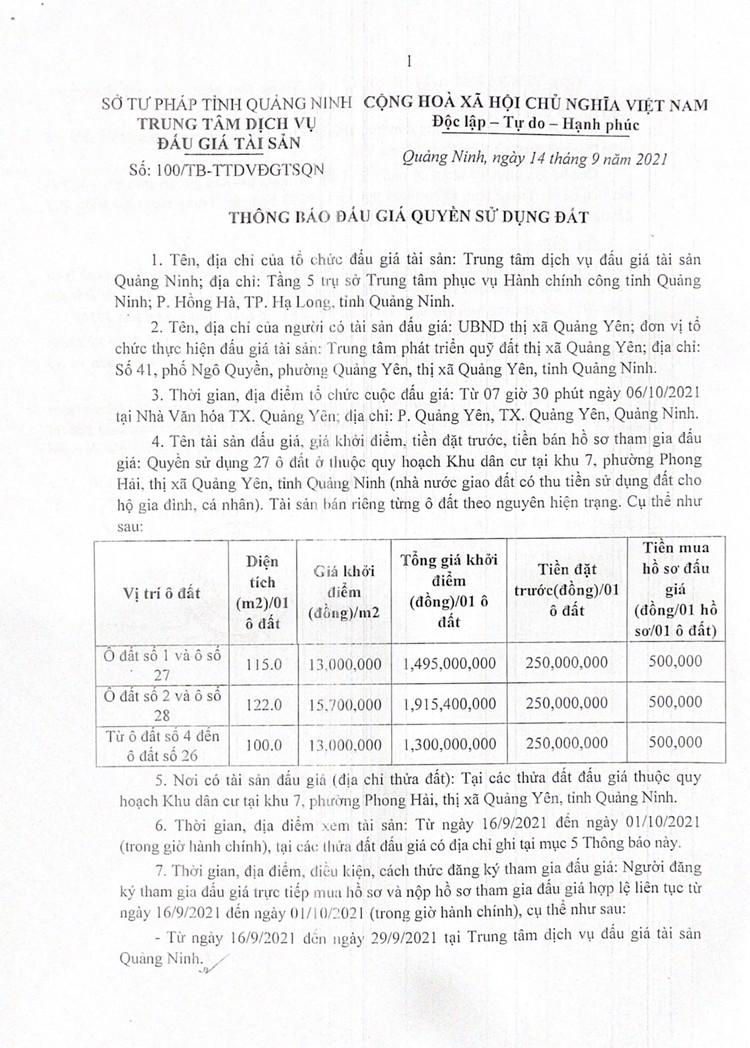 Ngày 6/10/2021, đấu giá quyền sử dụng 27 ô đất tại thị xã Quảng Yên, tỉnh Quảng Ninh ảnh 2