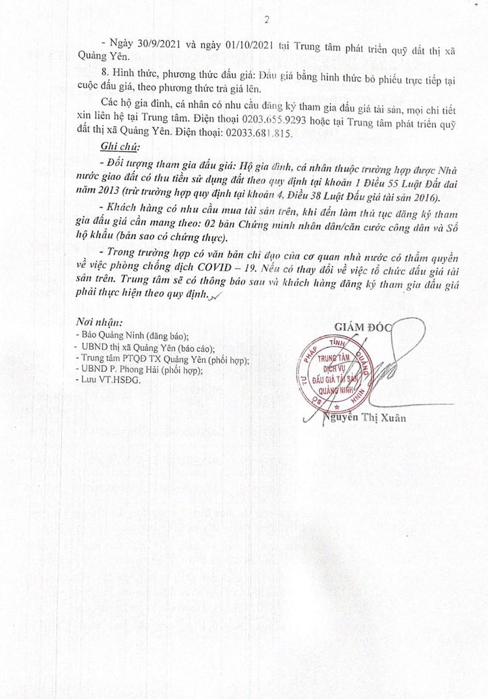 Ngày 6/10/2021, đấu giá quyền sử dụng 27 ô đất tại thị xã Quảng Yên, tỉnh Quảng Ninh ảnh 3