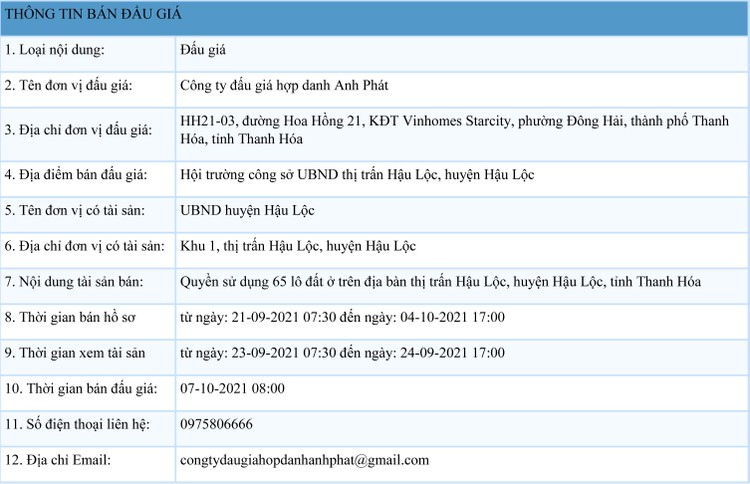 Ngày 7/10/2021, đấu giá quyền sử dụng 65 lô đất tại huyện Hậu Lộc, tỉnh Thanh Hóa ảnh 1