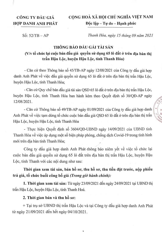 Ngày 7/10/2021, đấu giá quyền sử dụng 65 lô đất tại huyện Hậu Lộc, tỉnh Thanh Hóa ảnh 2
