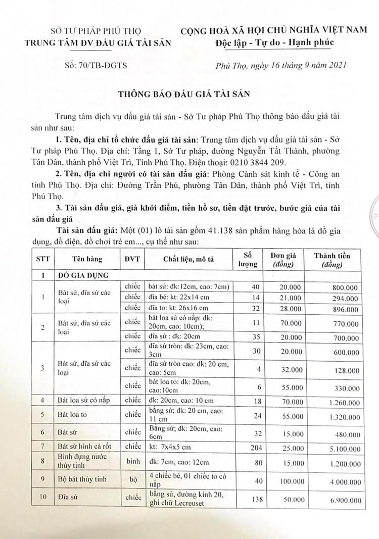 Ngày 30/9/2021, đấu giá 41.138 sản phẩm các loại tại tỉnh Phú Thọ ảnh 2