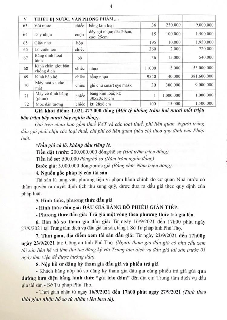 Ngày 30/9/2021, đấu giá 41.138 sản phẩm các loại tại tỉnh Phú Thọ ảnh 5