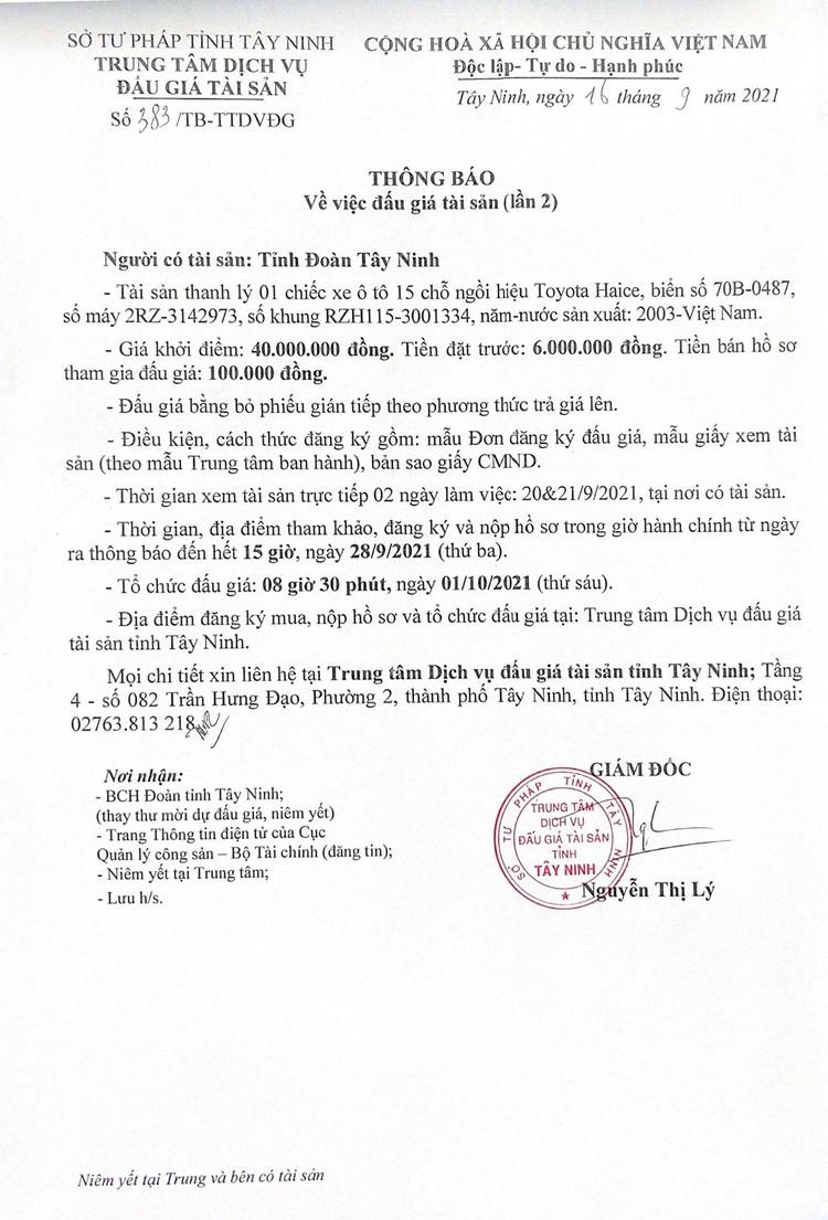 Ngày 1/10/2021, đấu giá xe ô tô Toyota Hiace tại tỉnh Tây Ninh ảnh 3