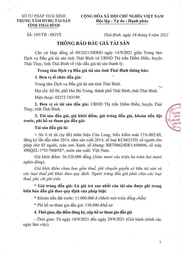 Ngày 1/10/2021, đấu giá xe ô tô tải Cửu Long tại tỉnh Thái Bình ảnh 2