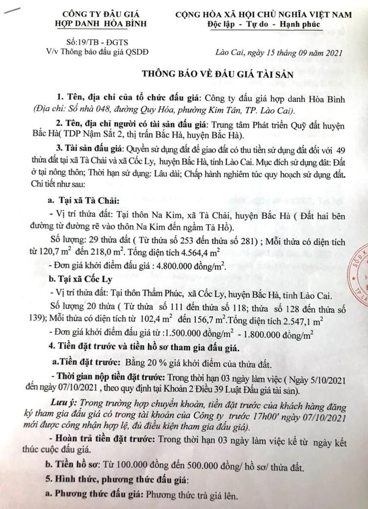 Ngày 8/10/2021, đấu giá quyền sử dụng 49 thửa đất tại huyện Bắc Hà, tỉnh Lào Cai ảnh 2