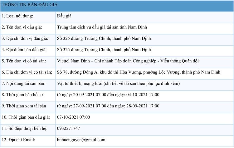 Ngày 7/10/2021, đấu giá vật tư thiết bị mạng lưới tại tỉnh Nam Định ảnh 1