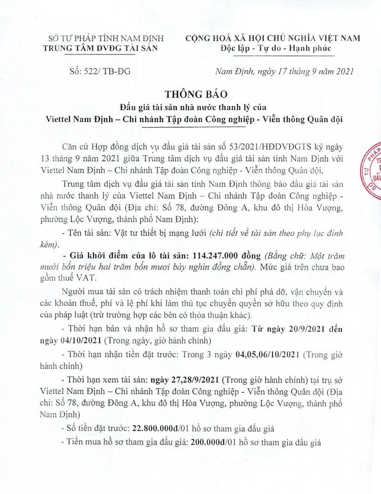 Ngày 7/10/2021, đấu giá vật tư thiết bị mạng lưới tại tỉnh Nam Định ảnh 2