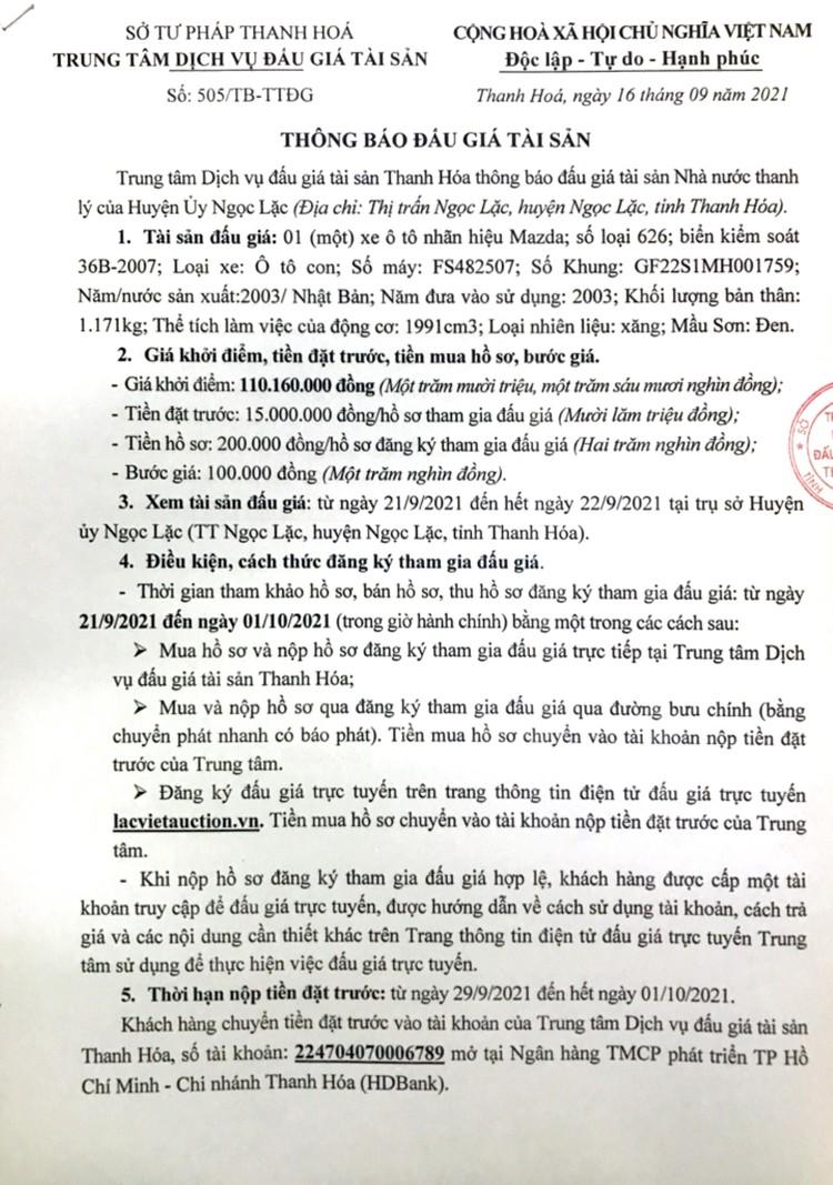 Ngày 4/10/2021, đấu giá 1 xe ô tô Mazda tại tỉnh Thanh Hóa ảnh 2