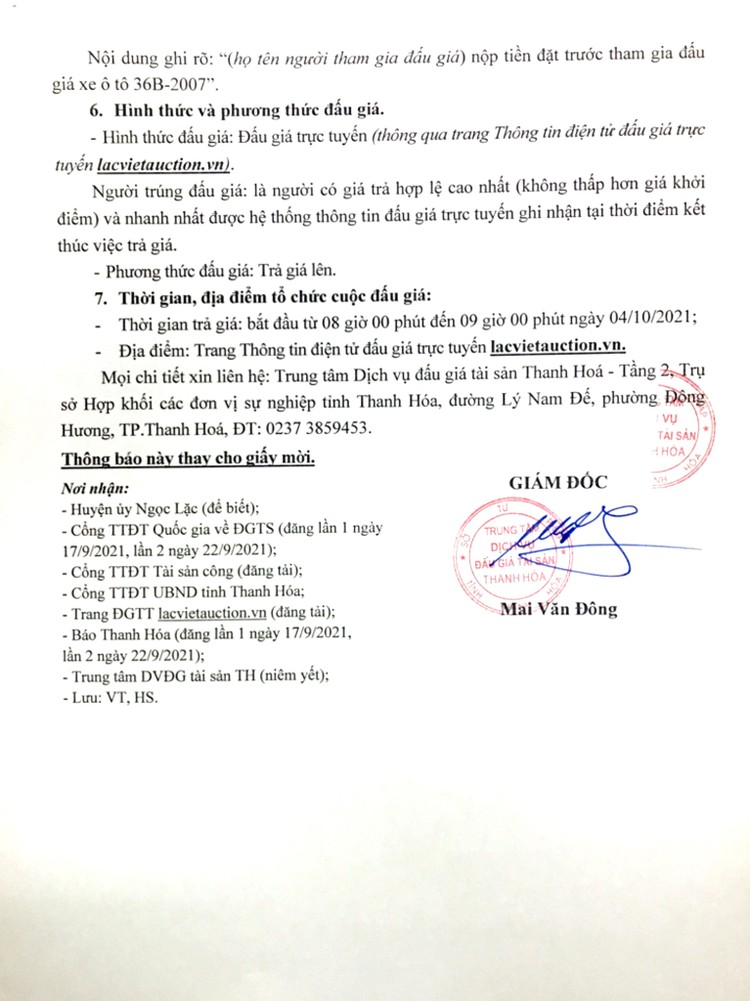 Ngày 4/10/2021, đấu giá 1 xe ô tô Mazda tại tỉnh Thanh Hóa ảnh 3