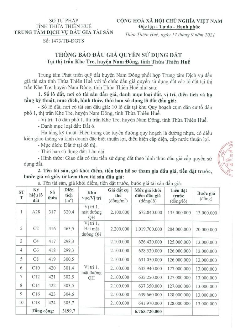 Ngày 14/10/2021, đấu giá quyền sử dụng 10 lô đất tại huyện Nam Đông, tỉnh Thừa Thiên Huế ảnh 2