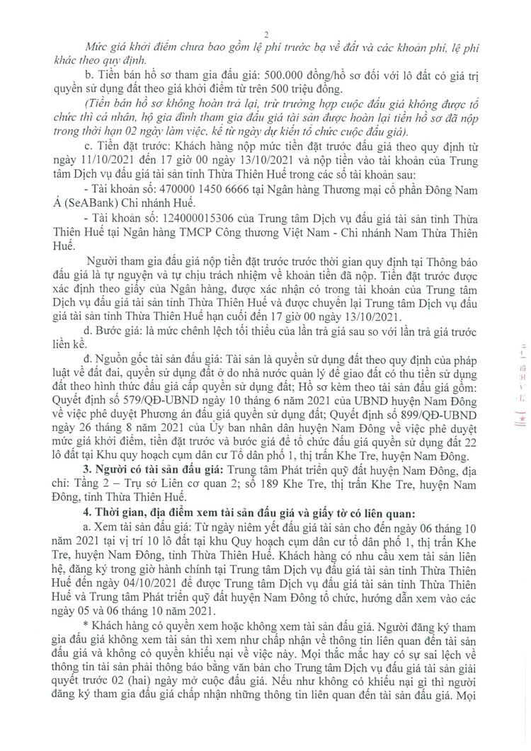 Ngày 14/10/2021, đấu giá quyền sử dụng 10 lô đất tại huyện Nam Đông, tỉnh Thừa Thiên Huế ảnh 3