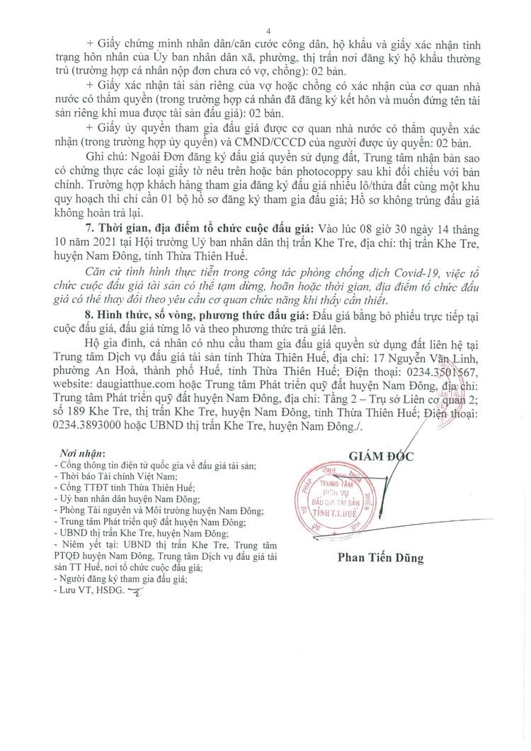 Ngày 14/10/2021, đấu giá quyền sử dụng 10 lô đất tại huyện Nam Đông, tỉnh Thừa Thiên Huế ảnh 5