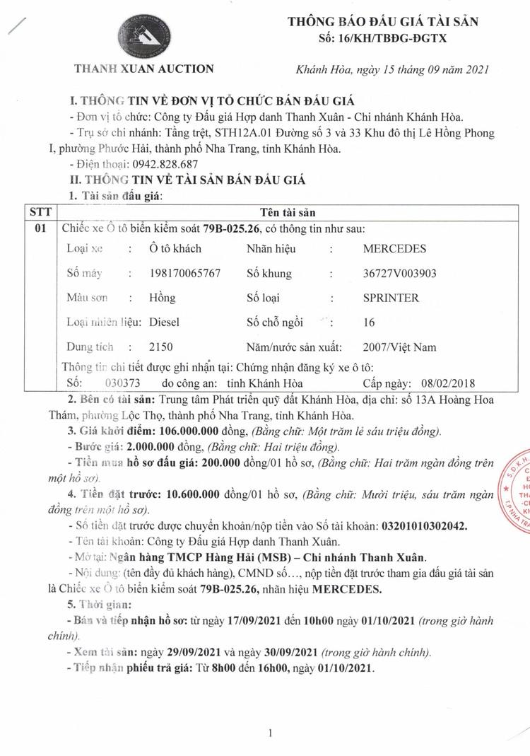 Ngày 4/10/2021, đấu giá 1 xe ô tô Mercedes tại tỉnh Khánh Hòa ảnh 2