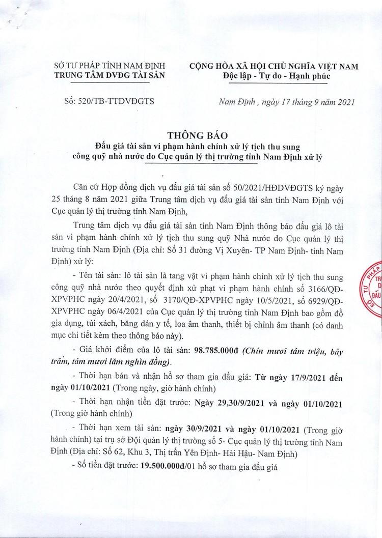 Ngày 4/10/2021, đấu giá tang vật vi phạm hành chính tại tỉnh Nam Định ảnh 2