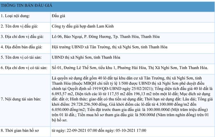 Ngày 8/10/2021, đấu giá quyền sử dụng 40 lô đất tại thị xã Nghi Sơn, tỉnh Thanh Hóa ảnh 1