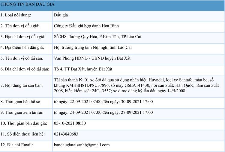 Ngày 5/10/2021, đấu giá xe ôtô Huyndai tại tỉnh Lào Cai ảnh 1