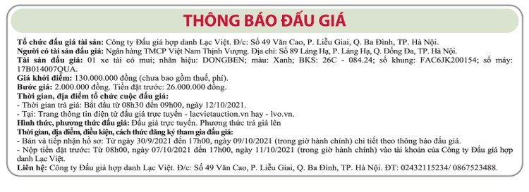Ngày 12/10/2021, đấu giá xe tải có mui Dongben tại Hà Nội ảnh 1