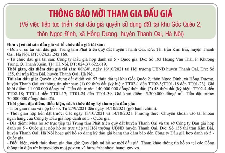 Ngày 16/10/2021, đấu giá quyền sử dụng đất tại huyện Thanh Oai, Hà Nội ảnh 1