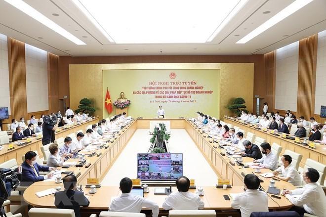 Thủ tướng chủ trì hội nghị trực tuyến với cộng đồng doanh nghiệp ảnh 1