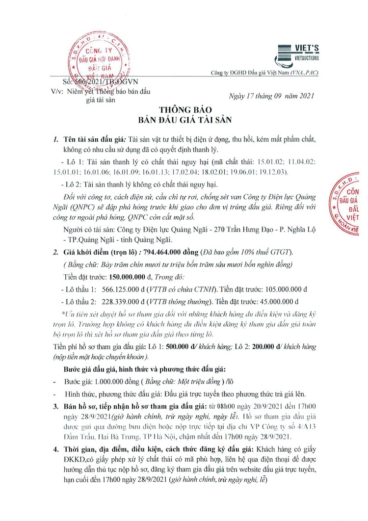 Ngày 30/9/2021, đấu giá vật tư thiết bị điện tại tỉnh Quảng Ngãi ảnh 2
