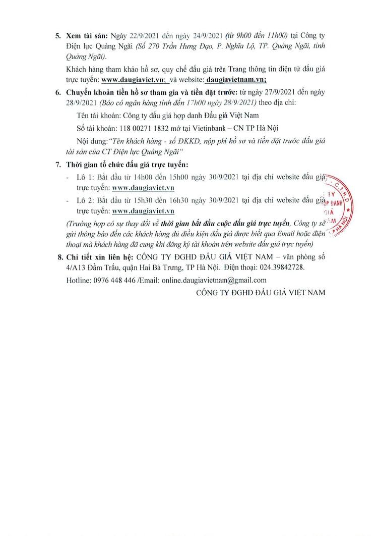 Ngày 30/9/2021, đấu giá vật tư thiết bị điện tại tỉnh Quảng Ngãi ảnh 3