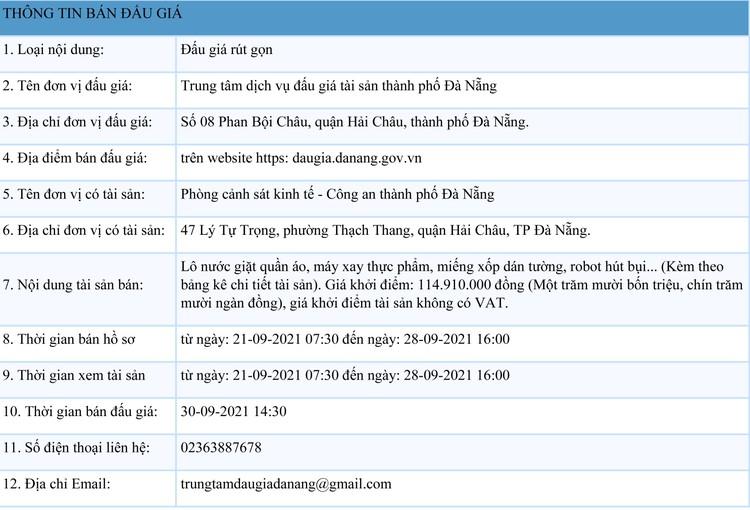 Ngày 30/9/2021, đấu giá lô nước giặt quần áo, máy xay thực phẩm tại thành phố Đà Nẵng ảnh 1