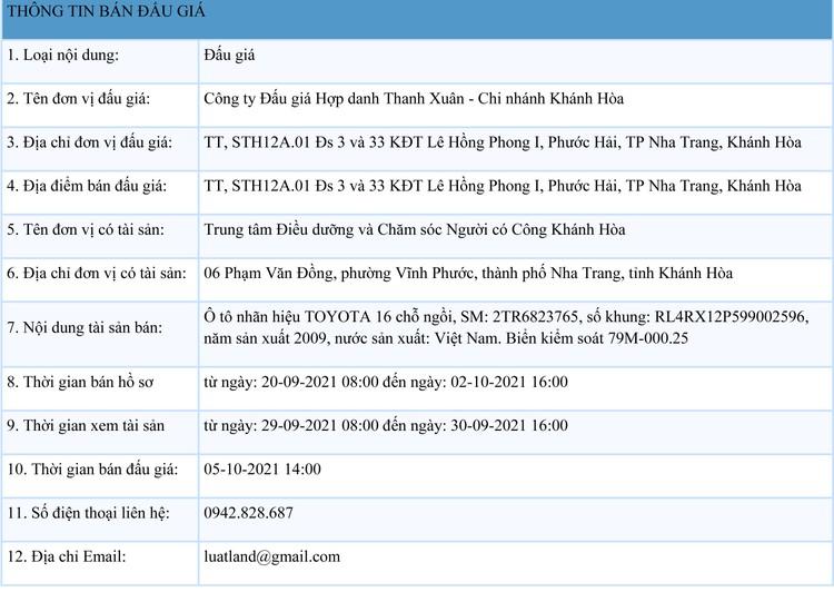 Ngày 5/10/2021, đấu giá xe ô tô TOYOTA tại tỉnh Khánh Hòa ảnh 1