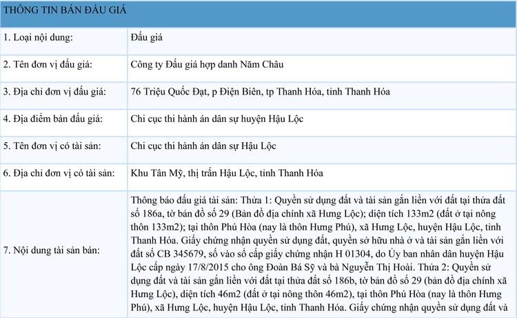 Ngày 7/10/2021, đấu giá quyền sử dụng 2 thửa đất tại huyện Hậu Lộc, tỉnh Thanh Hóa ảnh 1