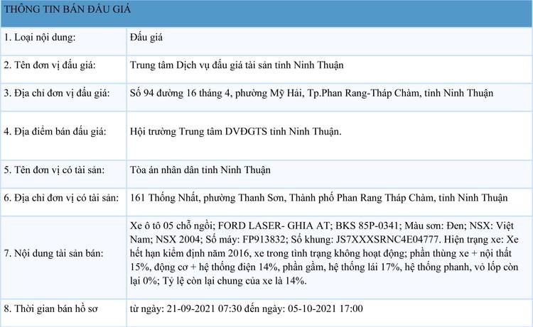 Ngày 7/10/2021, đấu giá xe ô tô FORD LASER tại tỉnh Ninh Thuận ảnh 1