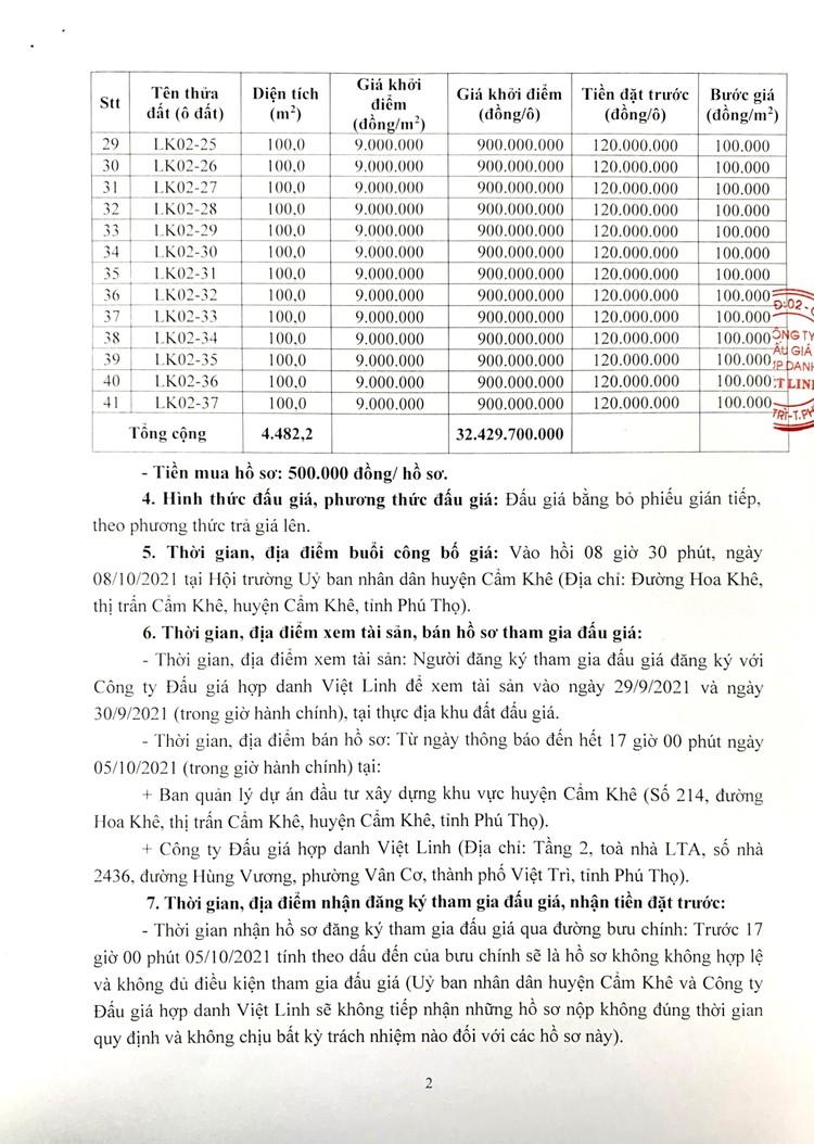 Ngày 8/10/2021, đấu giá quyền sử dụng 41 ô đất tại huyện Cẩm Khê, tỉnh Phú Thọ ảnh 3