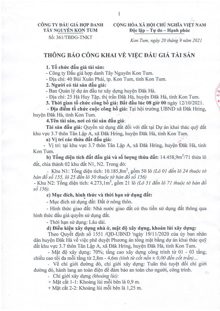 Ngày 12/10/2021, đấu giá quyền sử dụng 71 thửa đất tại huyện Đăk Hà, tỉnh Kon Tum ảnh 3