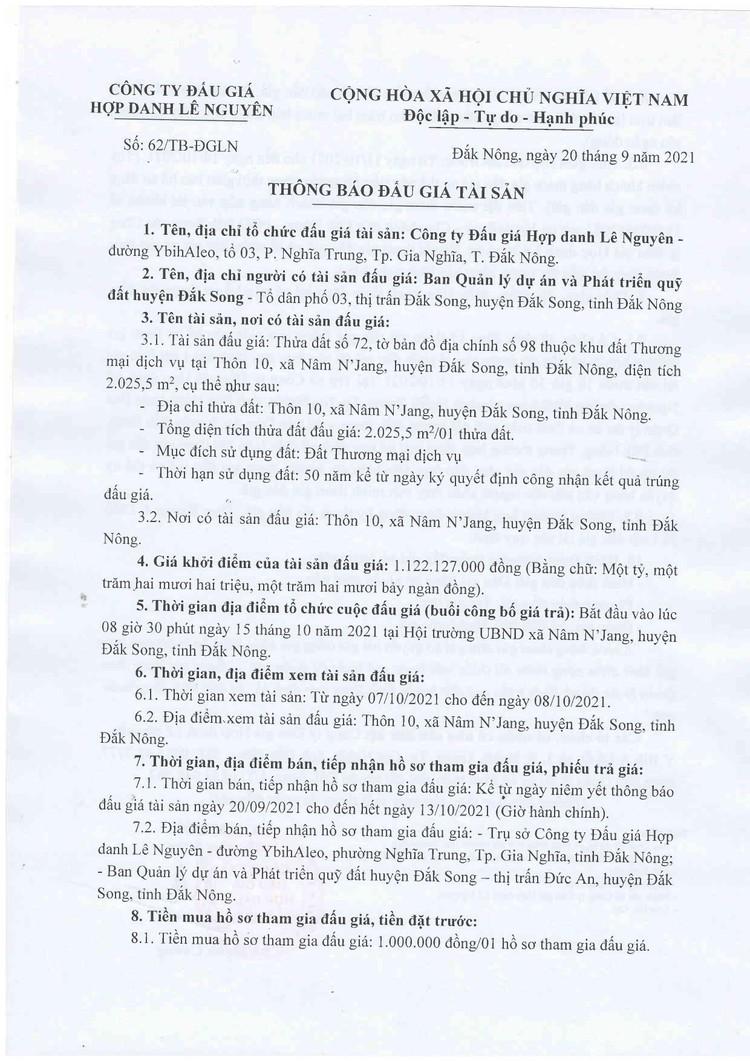 Ngày 15/10/2021, đấu giá quyền sử dụng 2.025,5 m2 đất tại huyện Đắk Song, tỉnh Đắk Nông ảnh 2