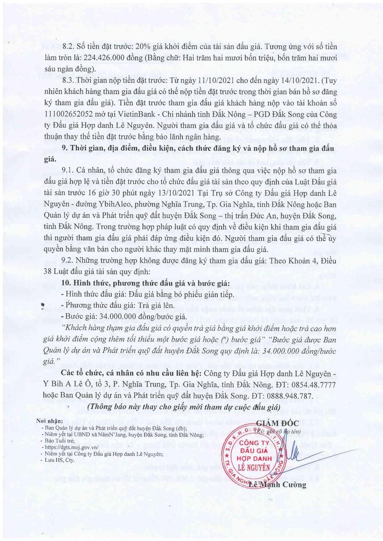 Ngày 15/10/2021, đấu giá quyền sử dụng 2.025,5 m2 đất tại huyện Đắk Song, tỉnh Đắk Nông ảnh 3
