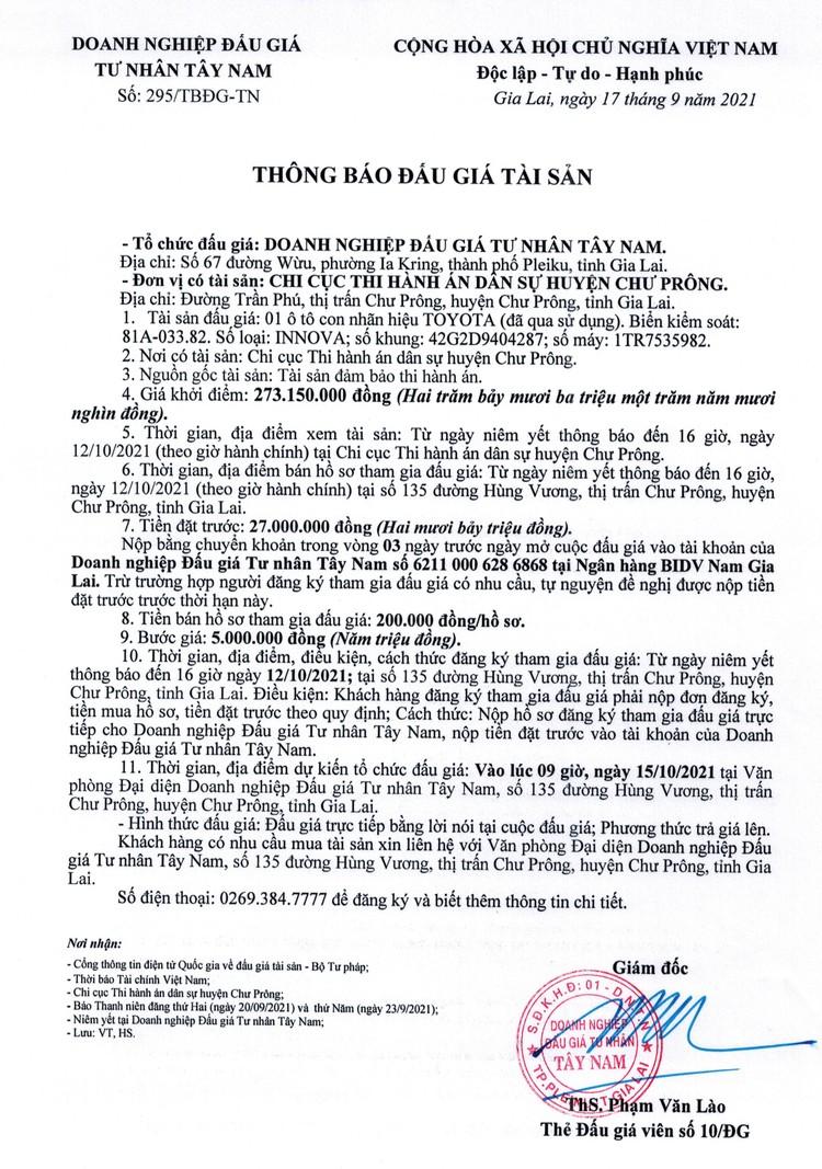 Ngày 15/10/2021, đấu giá xe ô tô TOYOTA tại tỉnh Gia Lai ảnh 2