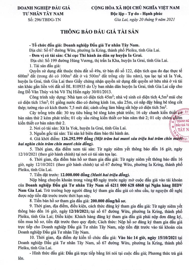 Ngày 15/10/2021, đấu giá quyền sử dụng đất tại huyện Ia Grai, tỉnh Gia Lai ảnh 2