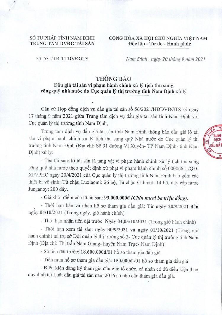 Ngày 7/10/2021, đấu giá các thiết bị vệ sinh tại tỉnh Nam Định ảnh 2