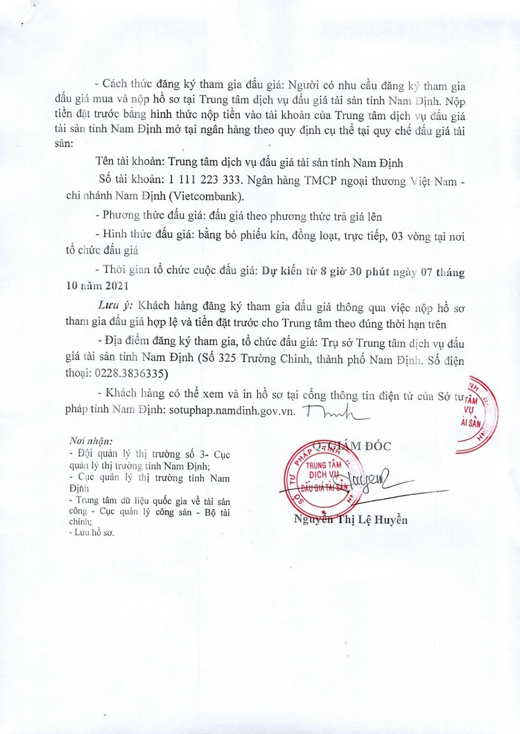 Ngày 7/10/2021, đấu giá các thiết bị vệ sinh tại tỉnh Nam Định ảnh 3