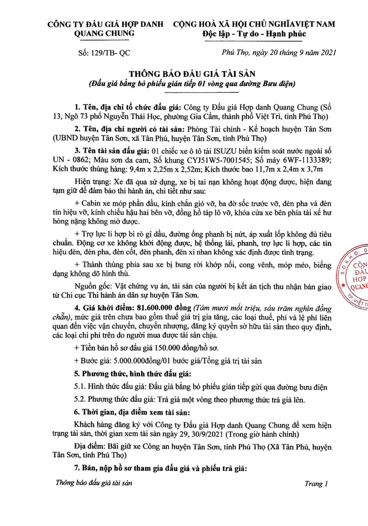Ngày 7/10/2021, đấu giá xe ô tô ISUZU tại tỉnh Phú Thọ ảnh 2