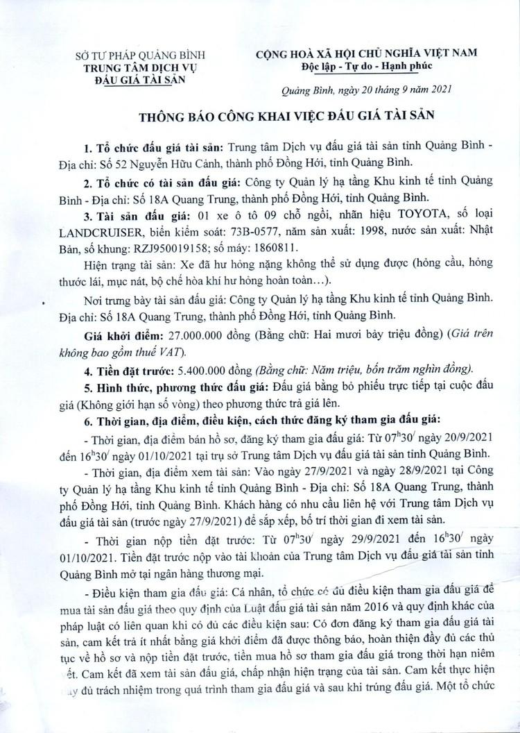 Ngày 4/10/2021, đấu giá xe ô tô TOYOTA tại tỉnh Quảng Bình ảnh 2