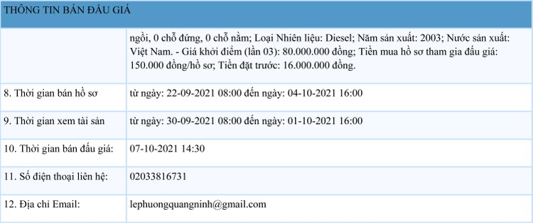 Ngày 7/10/2021, đấu giá 2 ô tô ISUZU tại tỉnh Quảng Ninh ảnh 2