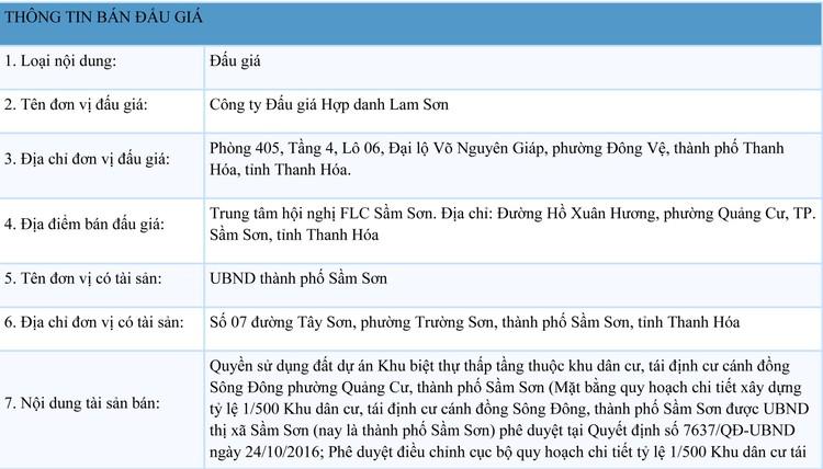 Ngày 11/10/2021, đấu giá quyền sử dụng đất tại thành phố Sầm Sơn, tỉnh Thanh Hóa ảnh 1