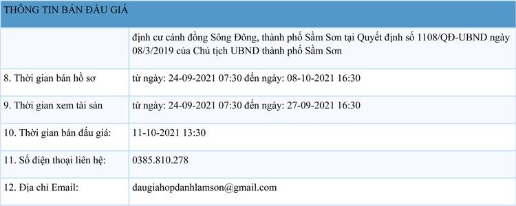 Ngày 11/10/2021, đấu giá quyền sử dụng đất tại thành phố Sầm Sơn, tỉnh Thanh Hóa ảnh 2
