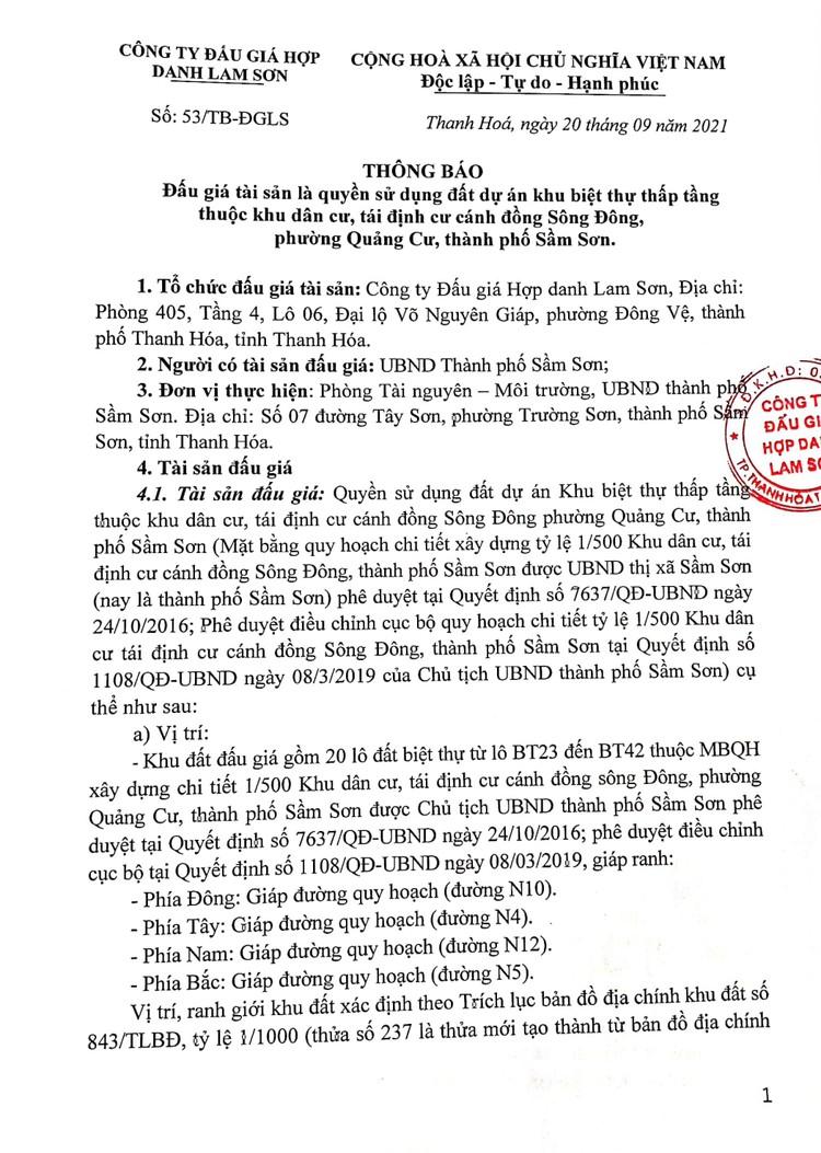 Ngày 11/10/2021, đấu giá quyền sử dụng đất tại thành phố Sầm Sơn, tỉnh Thanh Hóa ảnh 3