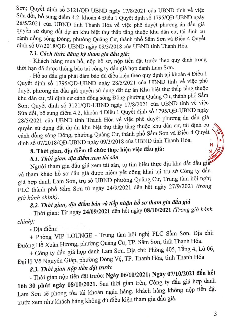 Ngày 11/10/2021, đấu giá quyền sử dụng đất tại thành phố Sầm Sơn, tỉnh Thanh Hóa ảnh 5